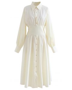 Button Down Cotton Shirt Dress in Cream