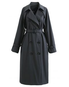 Double-Breasted Belted Trench Coat in Smoke