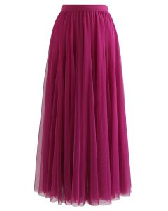 My Secret Garden Tulle Maxi Skirt in Magenta