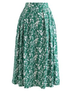 Floret Shadow Pleated Midi Skirt in Green