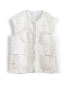 Pearly Edge Pocket Tweed Vest Jacket in White