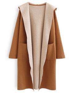 Open Front Longline Knit Hooded Cardigan