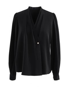 Buttoned Surplice Sleek Satin Top in Black