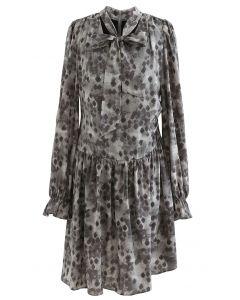 Inky Diamond Print Tie V-Neck Frilling Dress