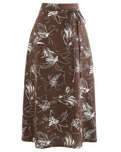 Flower Sketch Printed Self-Tie Midi Skirt in Brown