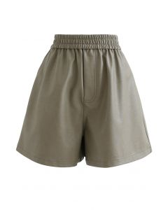 Faux Leather Textured Shorts in Taupe