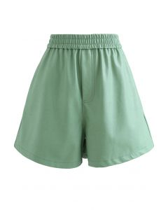Faux Leather Textured Shorts in Green
