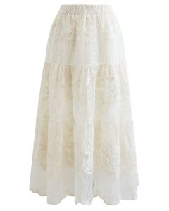 Floral Embroidery Organza Skirt in Cream