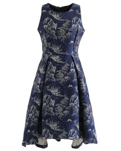 Magnolia Blossom Shimmer Jacquard Waterfall Dress in Navy