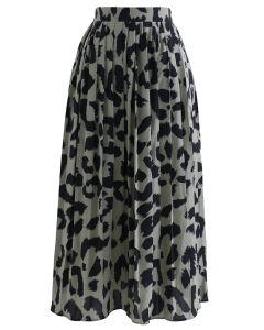 Leopard Print Chiffon Pleated Midi Skirt in Sage
