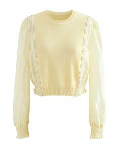 Spliced Sheer-Sleeve Crop Knit Top in Yellow