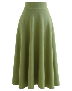 Fuzzy Soft Knit A-Line Midi Skirt in Green