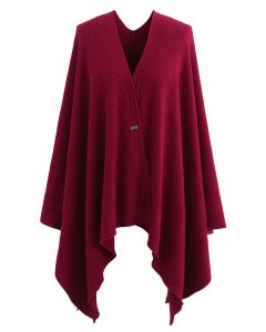 Buttoned Rib Knit Poncho Cape in Red