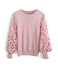 Baroque Crochet Sleeve Knit Top in Pink