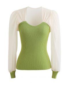 Spliced Bubble Sleeve Knit Top in Green