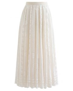 Floral Lace Scalloped Hem Maxi Skirt in Cream