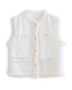 Tasseled Button Down Tweed Vest Jacket in White