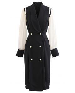 Organza Sleeve Spliced Pearly Blazer Dress in Black