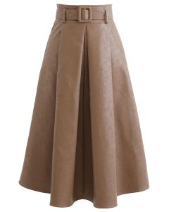 Textured Faux Leather Belted Pleated Skirt in Tan