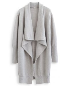 Waterfall Longline Knit Cardigan in Grey