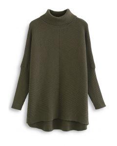 Effortless Chic Turtleneck Batwing Sleeve Hi-Lo Sweater in Army Green