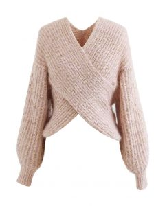 Crisscross Ribbed Knit Crop Sweater in Shimmer Pink