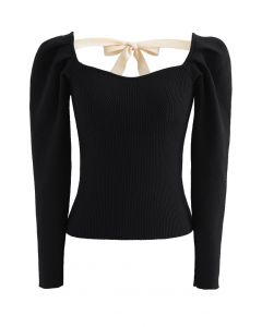 Gigot Sleeve Square Neck Crop Knit Top in Black