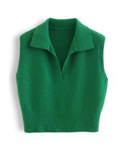 Collared V-Neck Knit Vest in Green