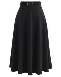 Horsebit Decorated A-Line Midi Skirt in Black