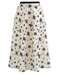 Posy Overlay Mesh Pleated Midi Skirt in Cream