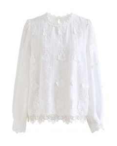Embroidered Floral Eyelet Top in White