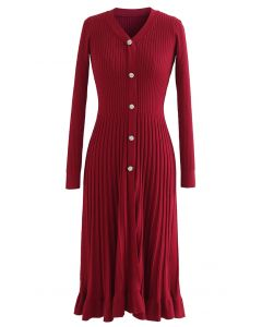 Button Front Ribbed Knit A-line Midi Dress in Red