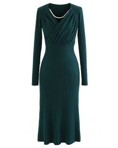 Ruched Wrap Front Ribbed Knit A-line Midi Dress in Green
