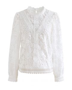 Clover Crochet High Neck Top in White