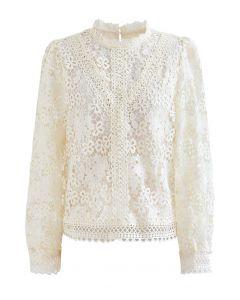 Clover Crochet High Neck Top in Cream