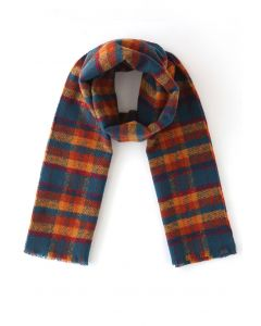 Soft Touch Colored Check Scarf in Orange