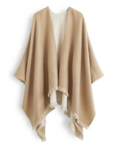 Solid Color Reversible Poncho in Camel