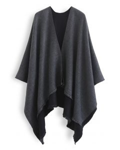 Solid Color Reversible Poncho in Smoke