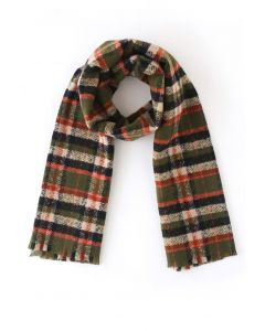 Soft Touch Colored Check Scarf in Army Green