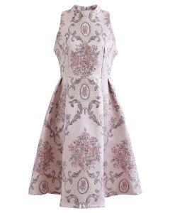 Splendid Peony Baroque Jacquard Sleeveless Dress in Pink