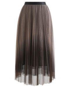 Gradient Mesh Glitter Pleated Midi Skirt in Brown