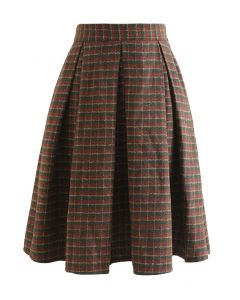 Colored Gingham Wool-Blend Pleated Skirt in Army Green
