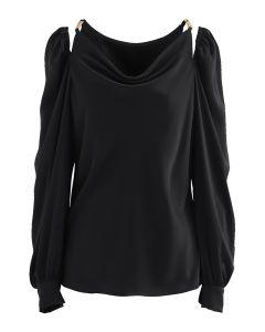 Cutout Shoulder Drape Neck Satin Top in Black