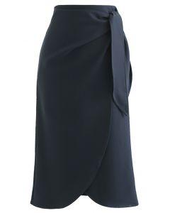 Tie-Knot Waist Flap Midi Skirt in Smoke
