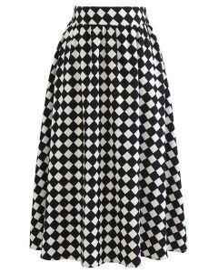 Contrasted Diamond Pattern Midi Skirt in Black