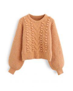 Fuzzy Pom-Pom Ribbed Mix-Knit Sweater in Orange