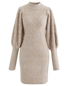 Embossed Mix-Knit Bubble Sleeve Shift Dress in Tan