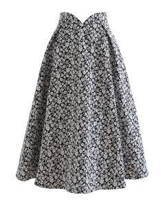 Dazzling Floret Embossed Jacquard Pleated Skirt