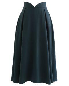 V-Shape Cutout Shimmery Pleated Skirt in Dark Green