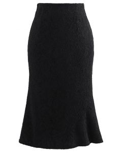 Baroque Velvet Lace Flared Pencil Skirt in Black